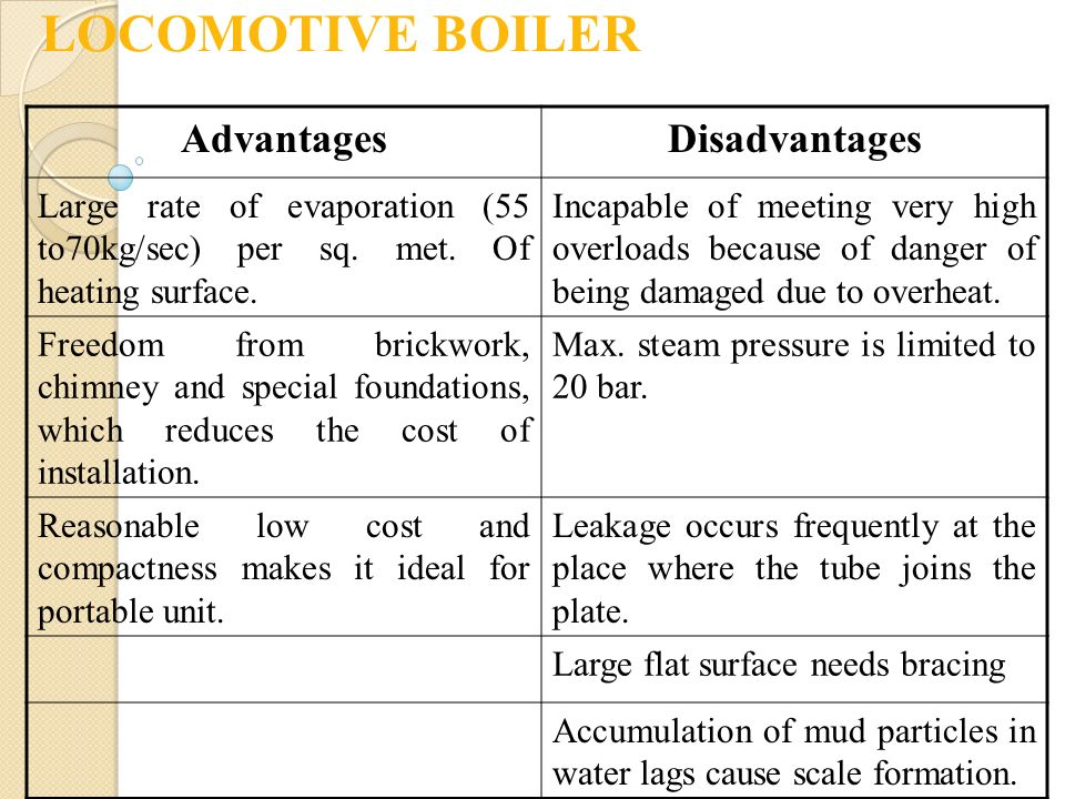 LOCOMOTIVE BOILER Advantages Disadvantages