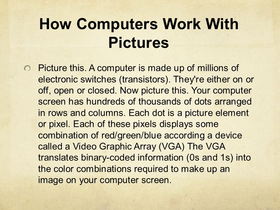 How Computers Work With Pictures
