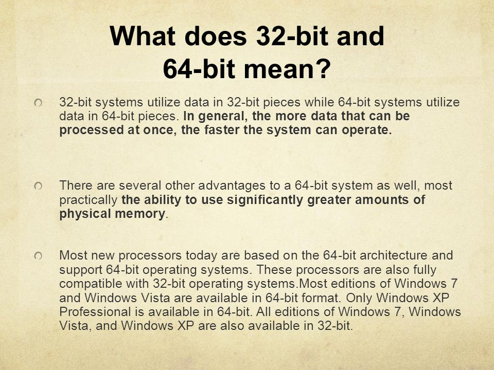 What does 32-bit and 64-bit mean