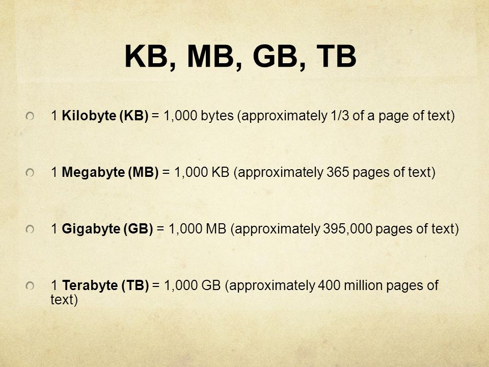 KB, MB, GB, TB 1 Kilobyte (KB) = 1,000 bytes (approximately 1/3 of a page of text) 1 Megabyte (MB) = 1,000 KB (approximately 365 pages of text)