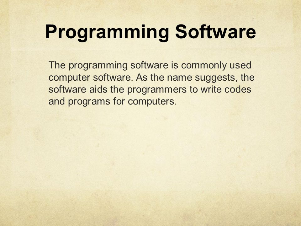 Programming Software