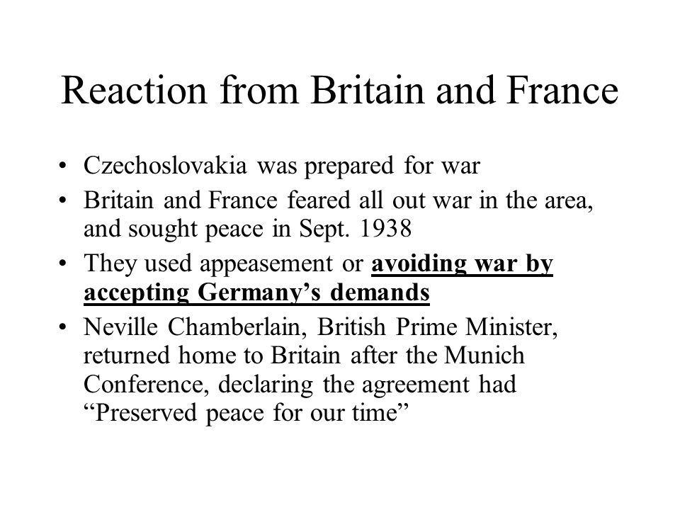 Reaction from Britain and France
