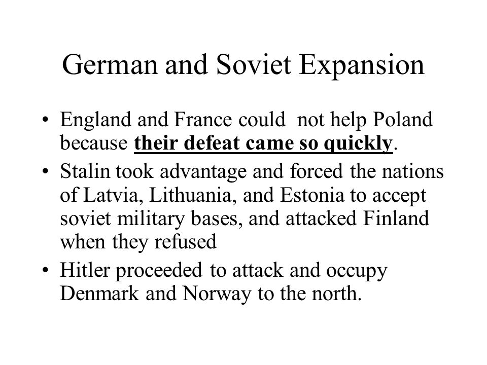 German and Soviet Expansion