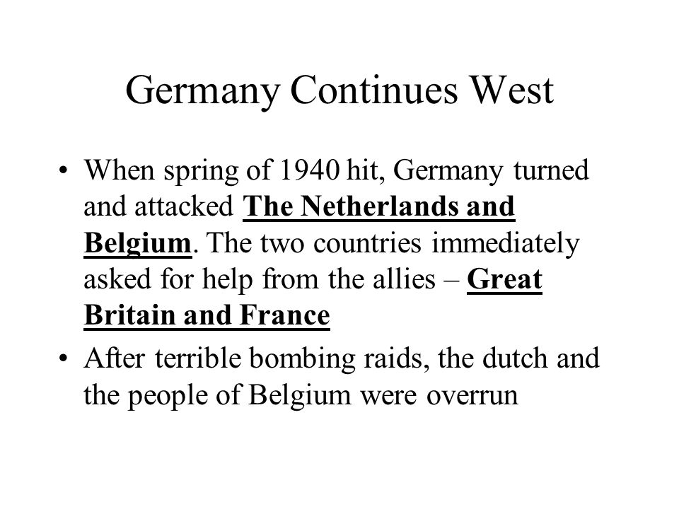 Germany Continues West