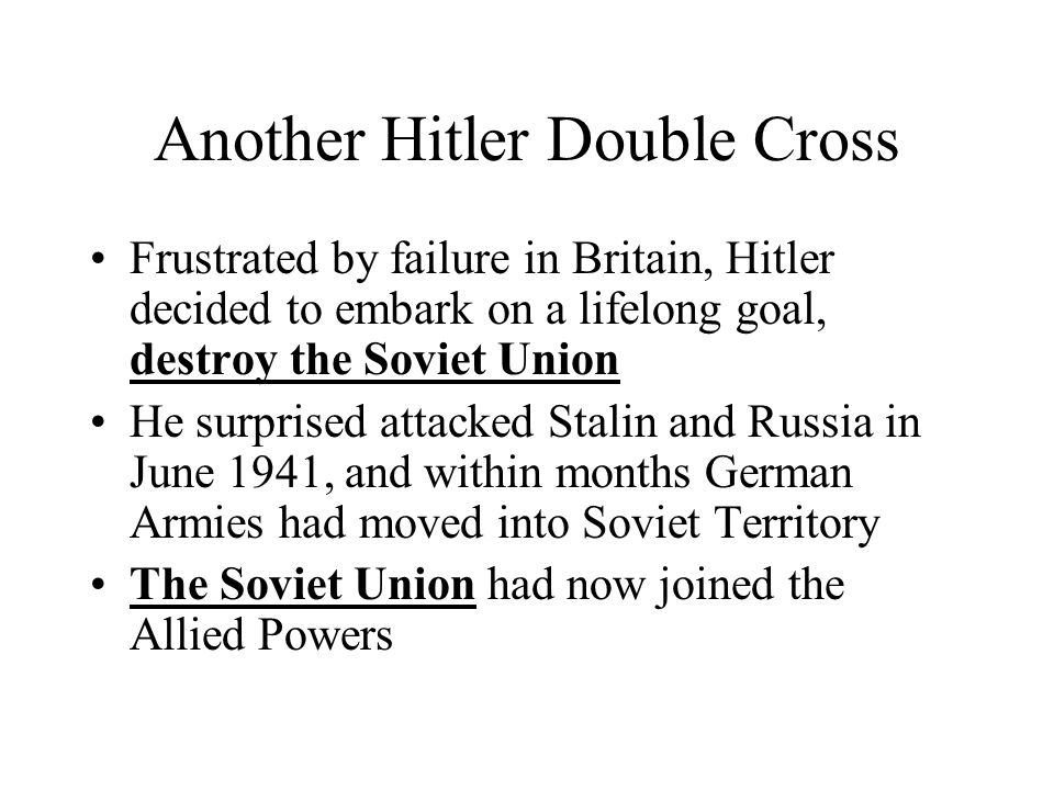 Another Hitler Double Cross