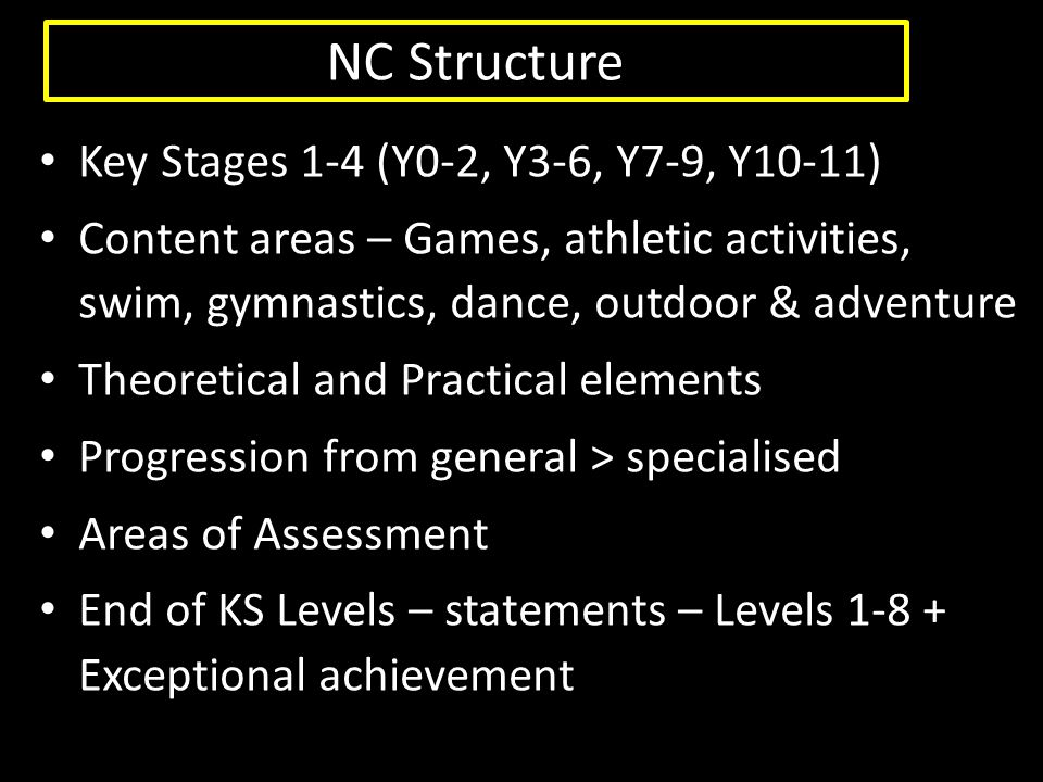 NC Structure Key Stages 1-4 (Y0-2, Y3-6, Y7-9, Y10-11)