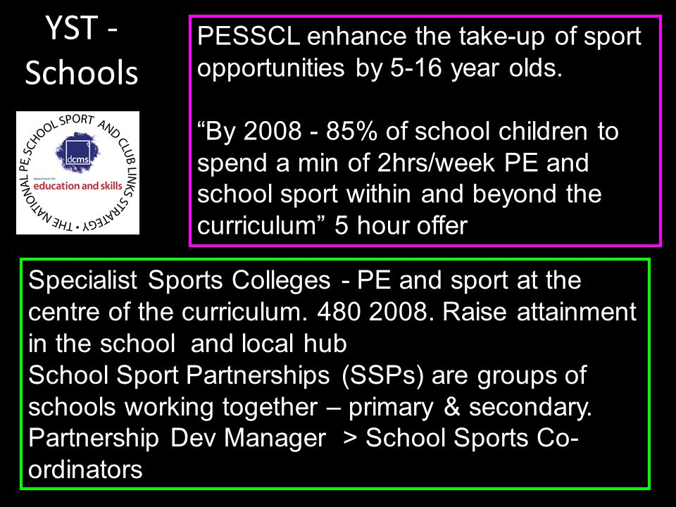 PESSCL enhance the take-up of sport opportunities by 5-16 year olds.
