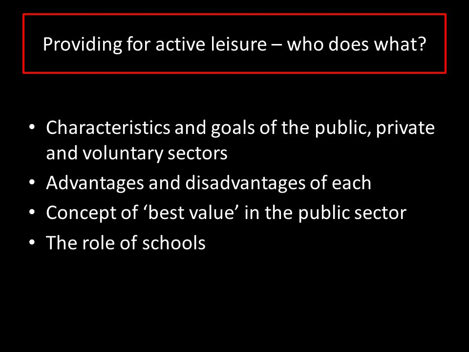 Providing for active leisure – who does what