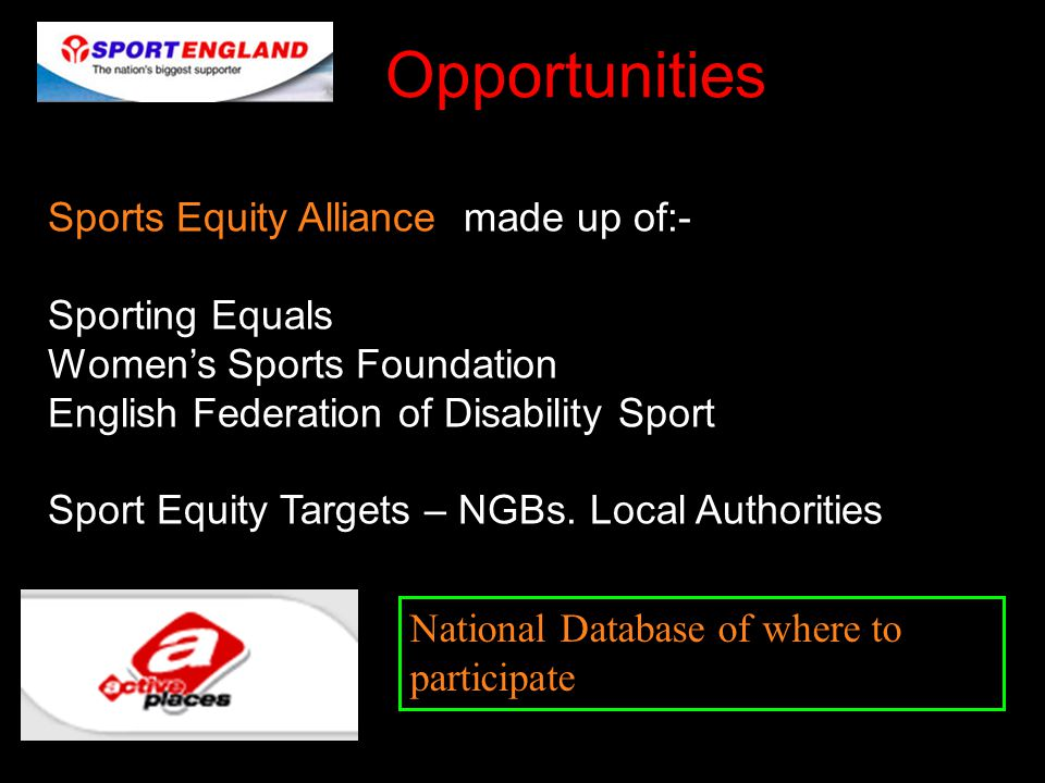 Opportunities Sports Equity Alliance made up of:- Sporting Equals