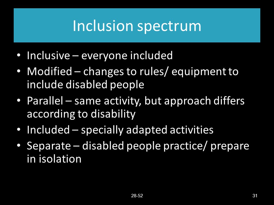 Inclusion spectrum Inclusive – everyone included