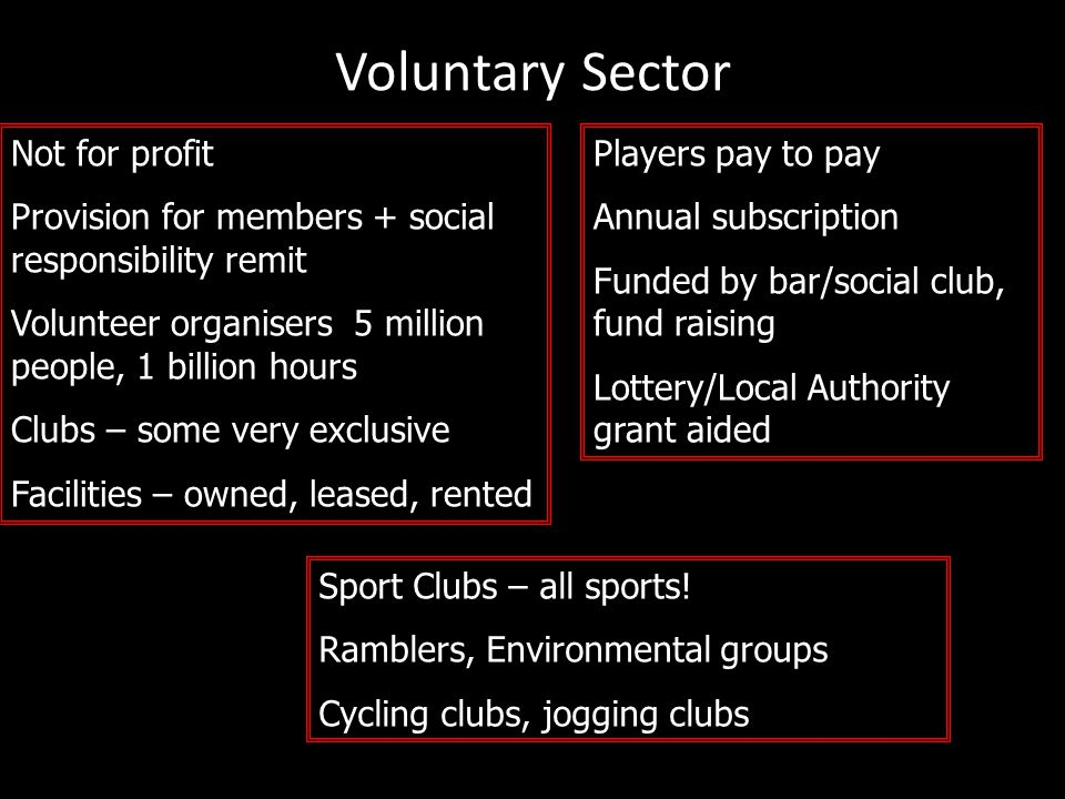 Voluntary Sector Not for profit