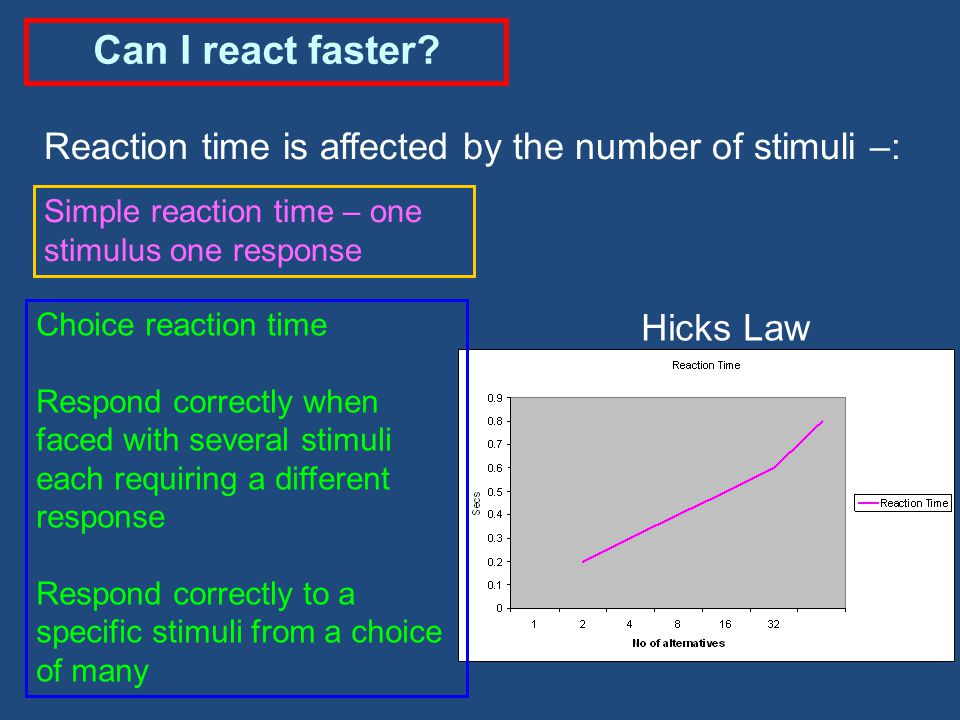 Can I react faster Reaction time is affected by the number of stimuli –: Simple reaction time – one stimulus one response.