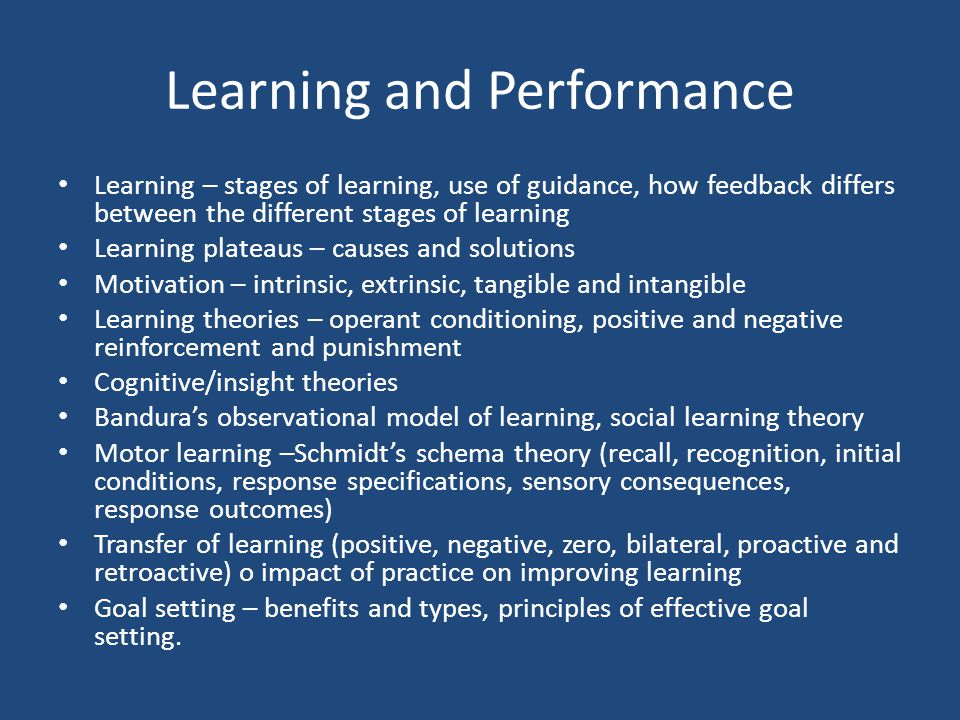 Learning and Performance