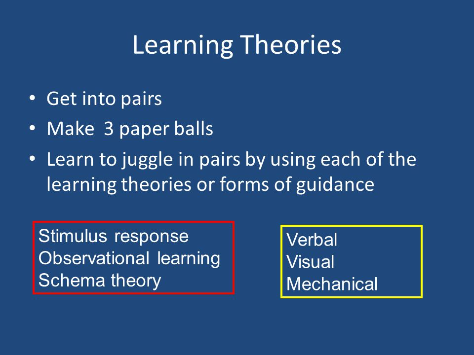 Learning Theories Get into pairs Make 3 paper balls
