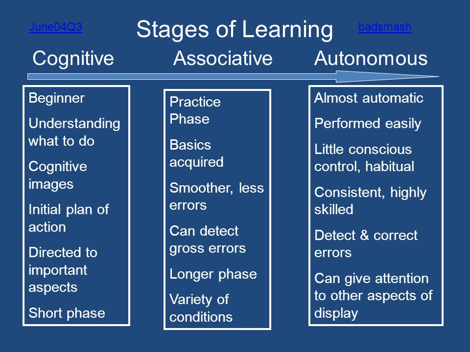 Stages of Learning Cognitive Associative Autonomous Beginner