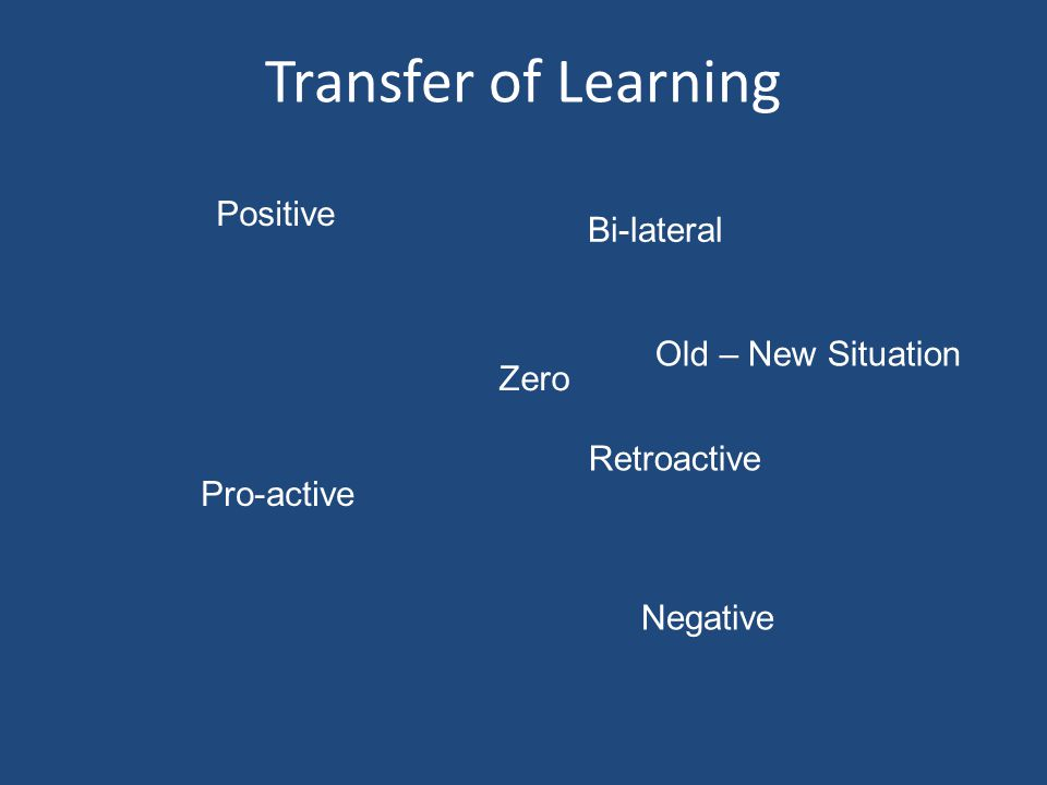 Transfer of Learning Positive Bi-lateral Old – New Situation Zero