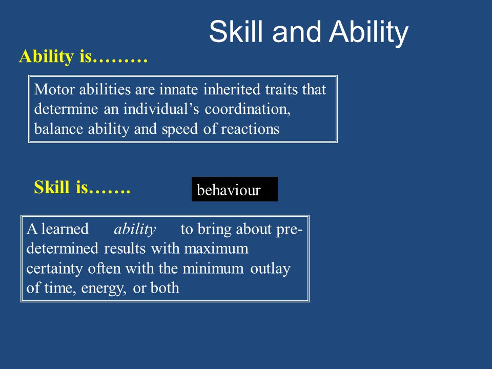 Skill and Ability Ability is……… Skill is…….
