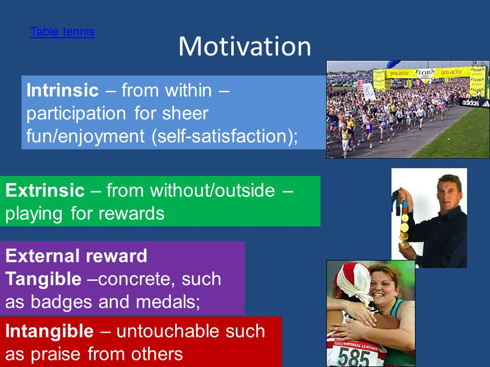 Motivation Table tennis. Intrinsic – from within – participation for sheer fun/enjoyment (self-satisfaction);