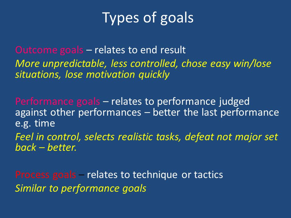 Types of goals Outcome goals – relates to end result
