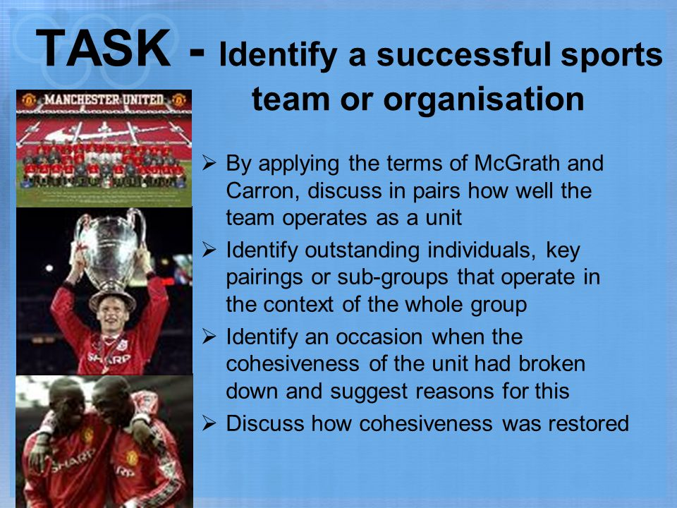 TASK - Identify a successful sports team or organisation