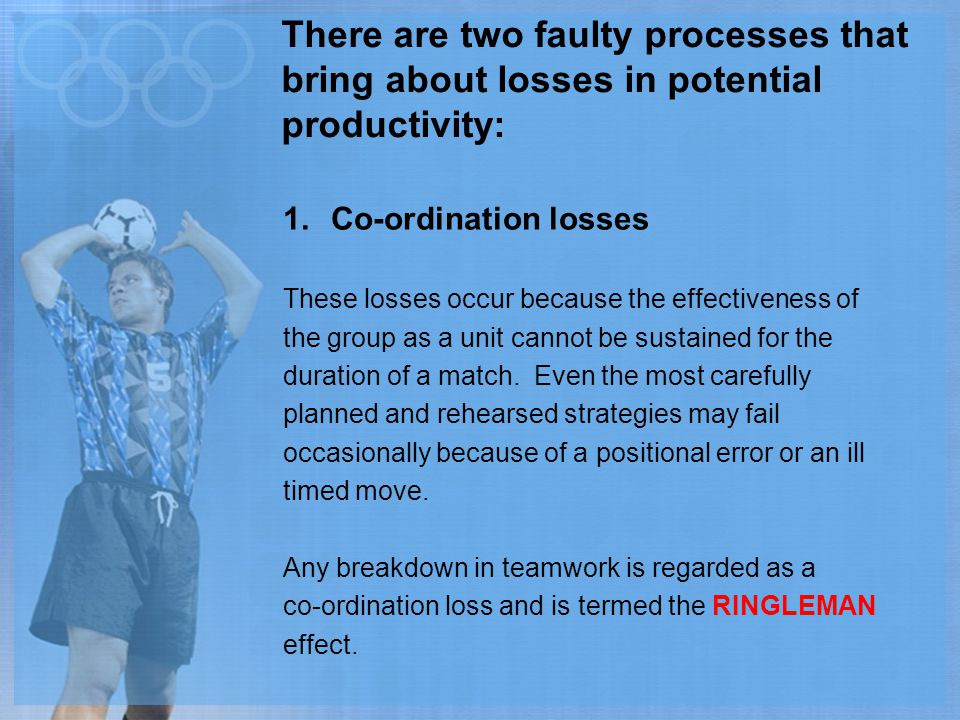 There are two faulty processes that bring about losses in potential productivity: