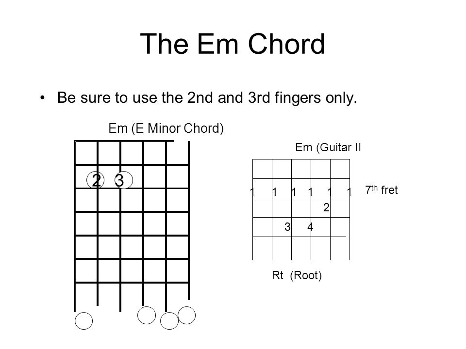 The Em Chord 2 3 Be sure to use the 2nd and 3rd fingers only.