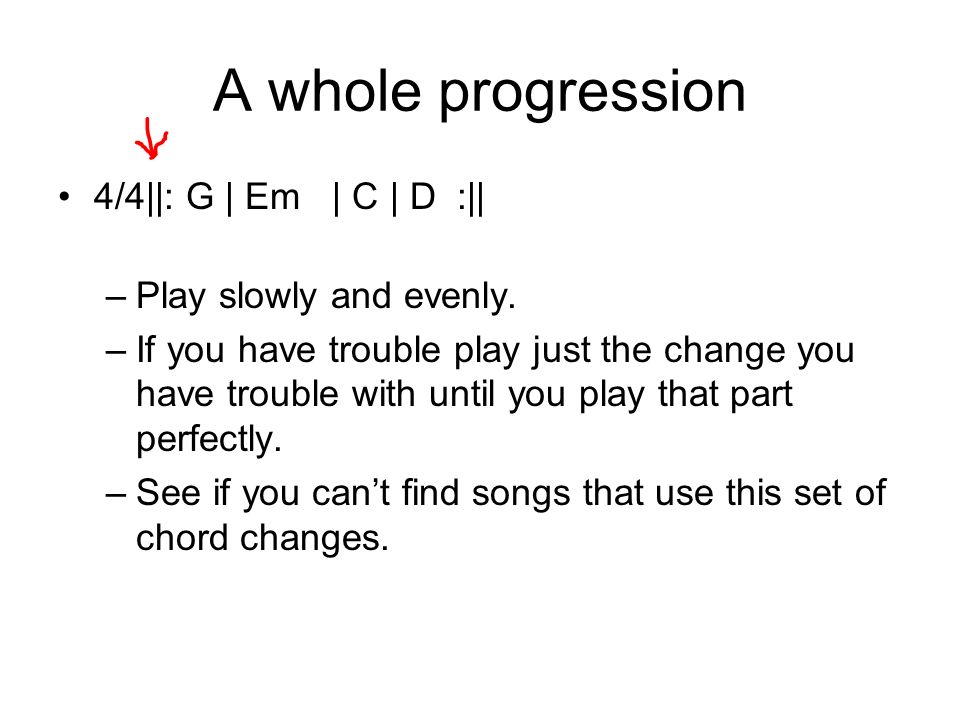 A whole progression 4/4||: G | Em | C | D :|| Play slowly and evenly.