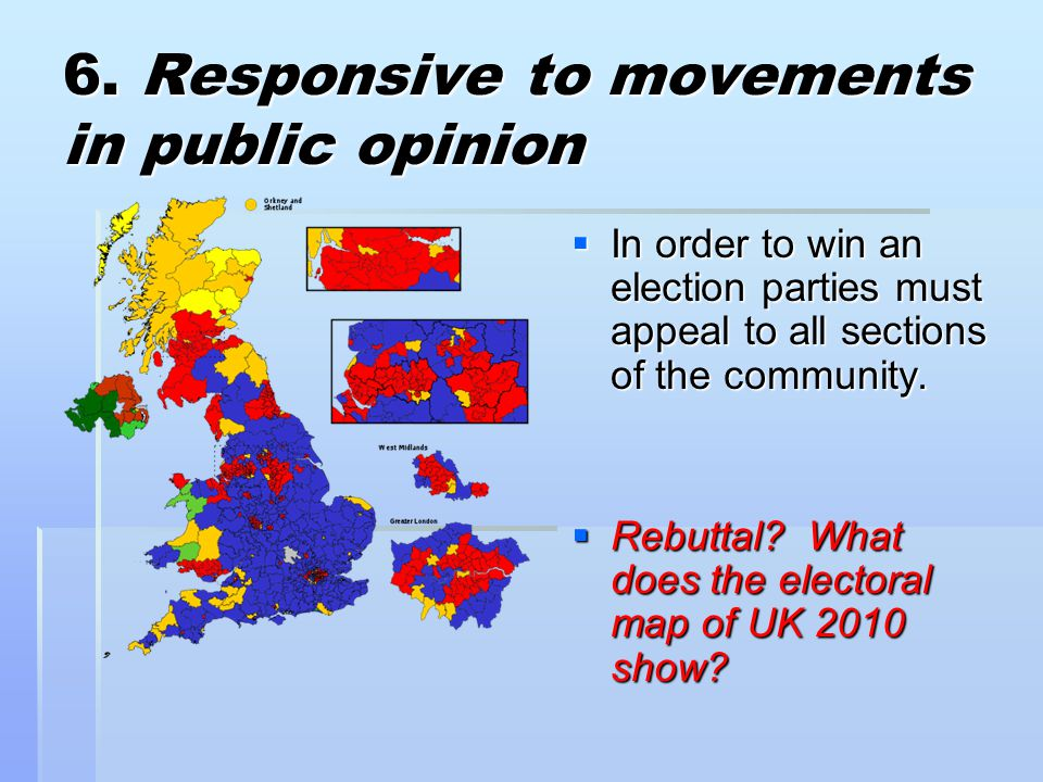 6. Responsive to movements in public opinion