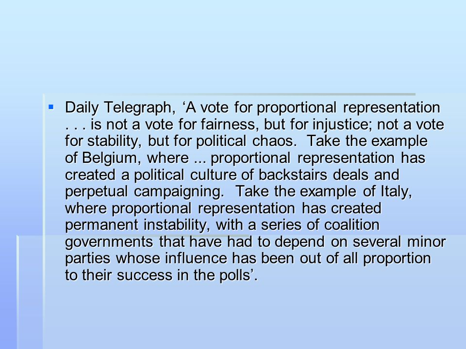 Daily Telegraph, 'A vote for proportional representation