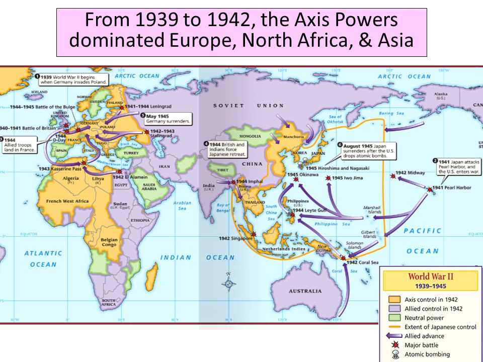 From 1939 to 1942, the Axis Powers dominated Europe, North Africa, & Asia