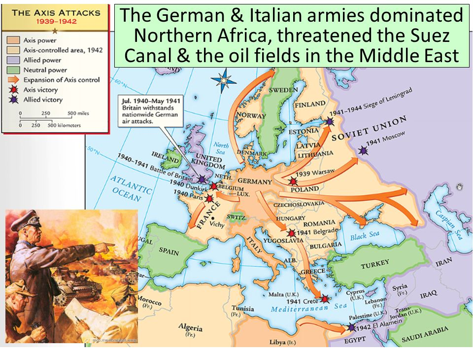 The German & Italian armies dominated Northern Africa, threatened the Suez Canal & the oil fields in the Middle East