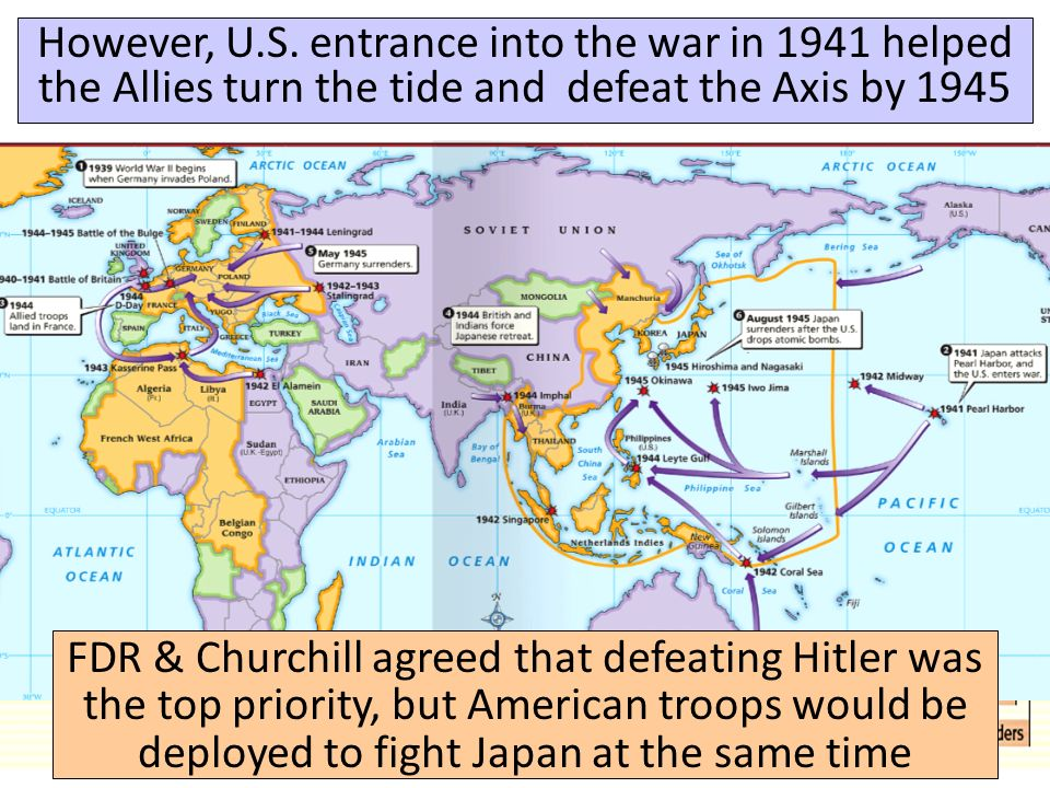 However, U.S. entrance into the war in 1941 helped the Allies turn the tide and defeat the Axis by 1945
