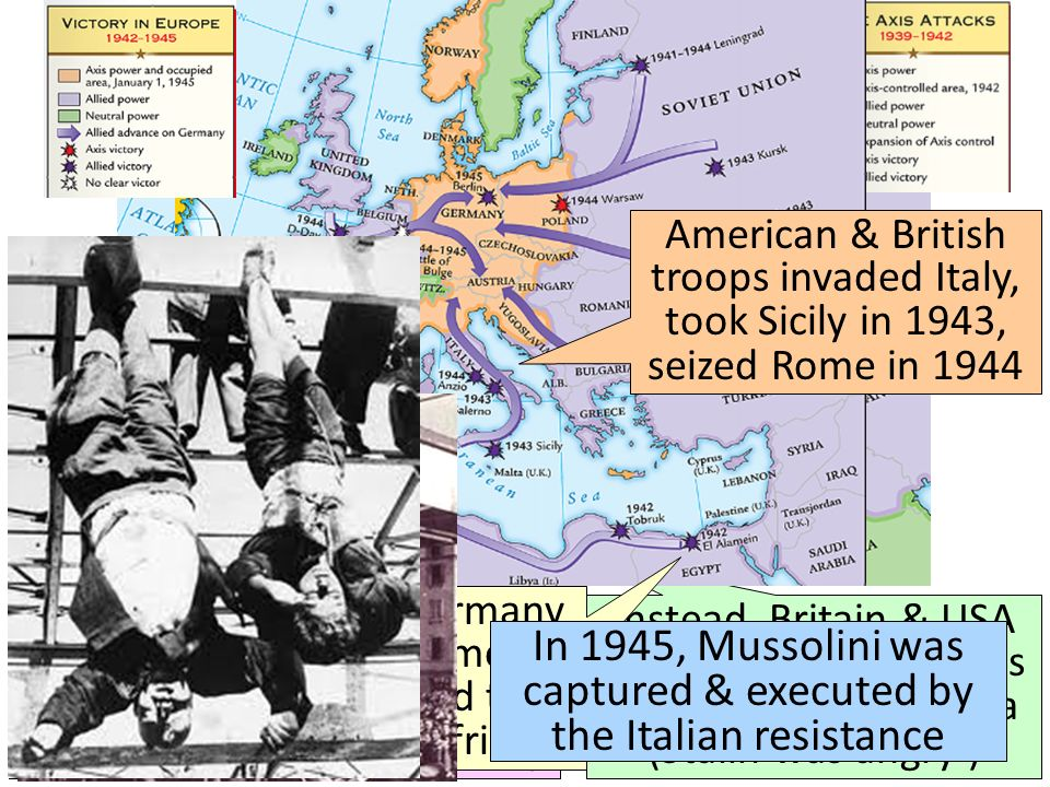 In 1945, Mussolini was captured & executed by the Italian resistance