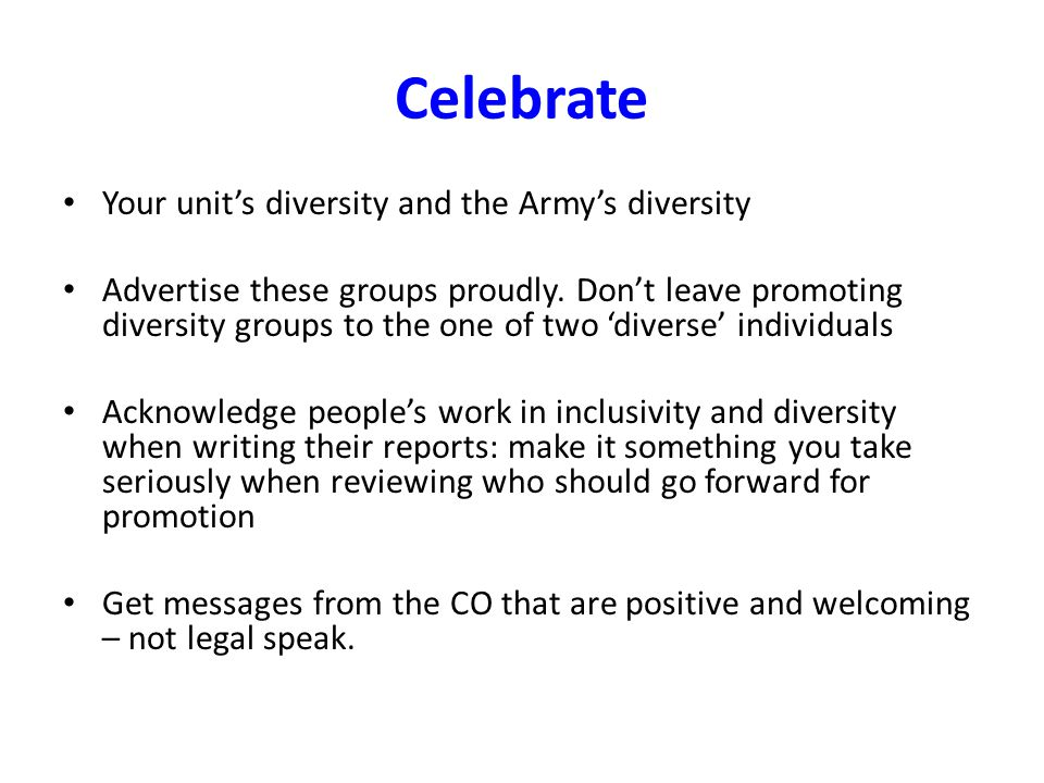 Celebrate Your unit's diversity and the Army's diversity