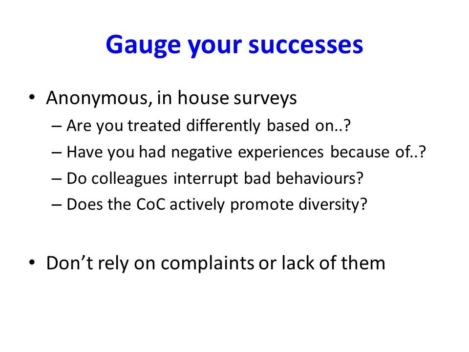 Gauge your successes Anonymous, in house surveys