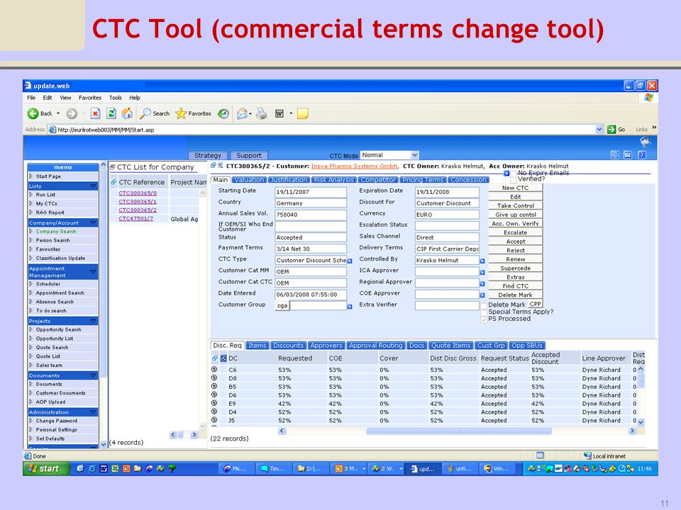 CTC Tool (commercial terms change tool)