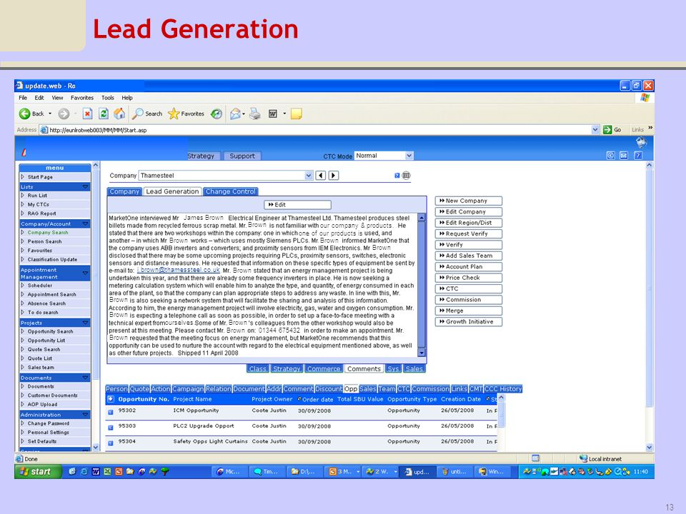 Lead Generation our company & products. one of our products is. ourselves. 01344 675432. James Brown.