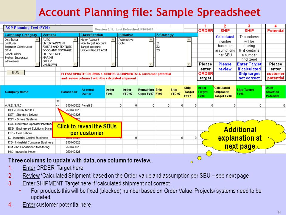Account Planning file: Sample Spreadsheet