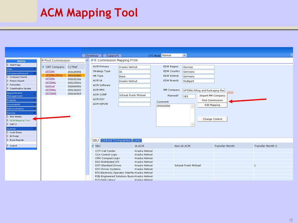 ACM Mapping Tool Mapping customer accounts, and commission to ACMs