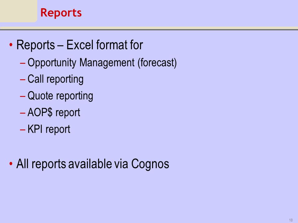 Reports – Excel format for