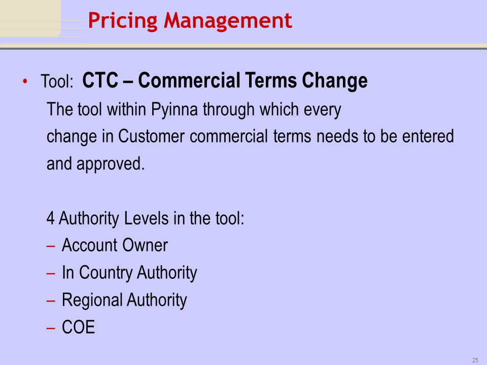 Pricing Management Tool: CTC – Commercial Terms Change