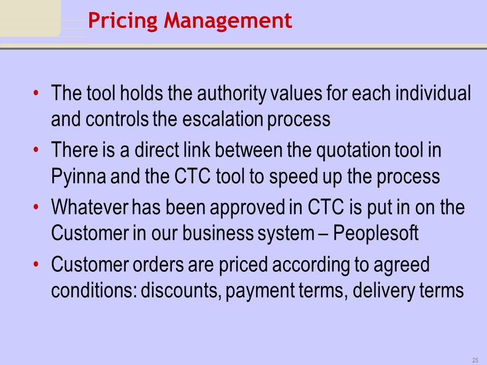 Pricing Management The tool holds the authority values for each individual and controls the escalation process.