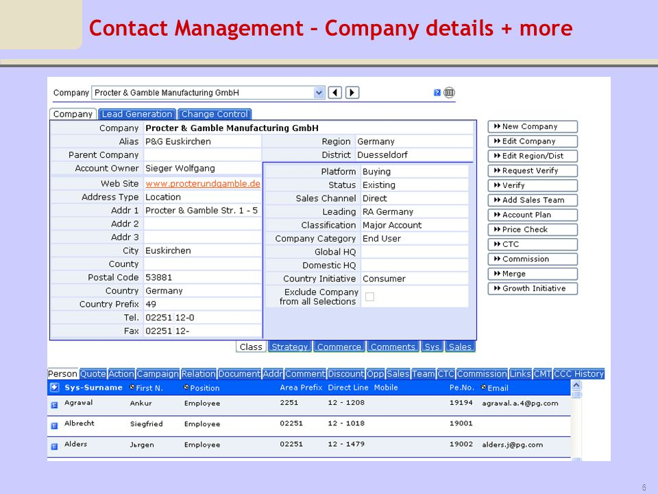 Contact Management – Company details + more