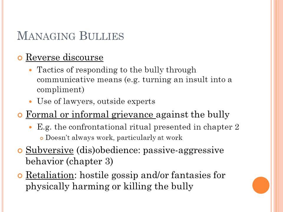 Managing Bullies Reverse discourse