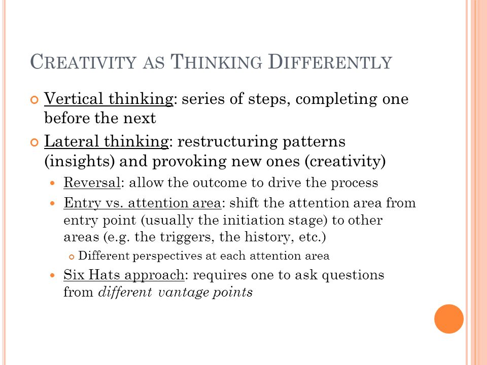 Creativity as Thinking Differently