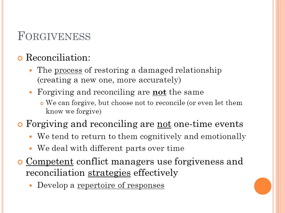 Forgiveness Reconciliation: