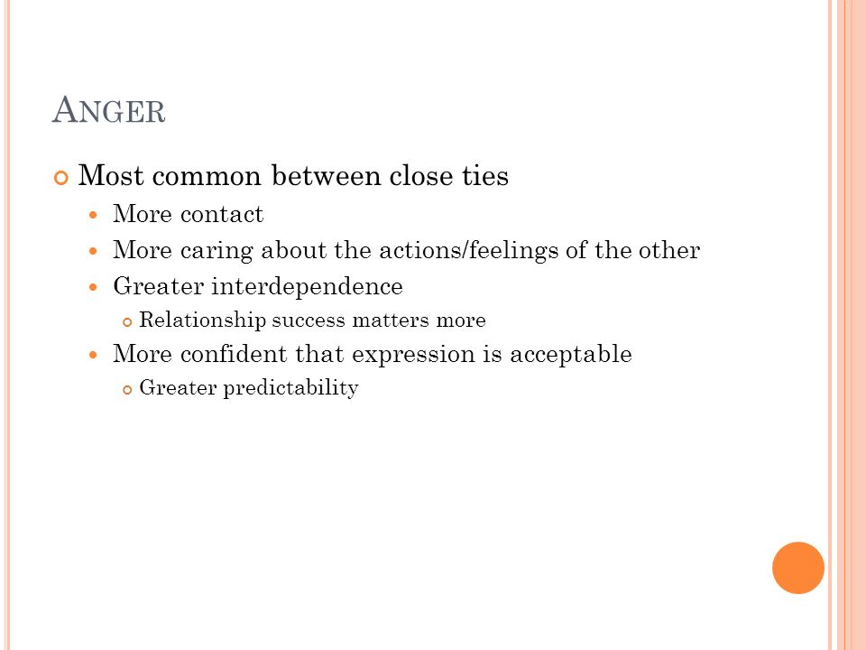 Anger Most common between close ties More contact