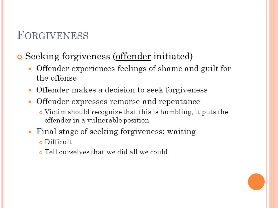 Forgiveness Seeking forgiveness (offender initiated)