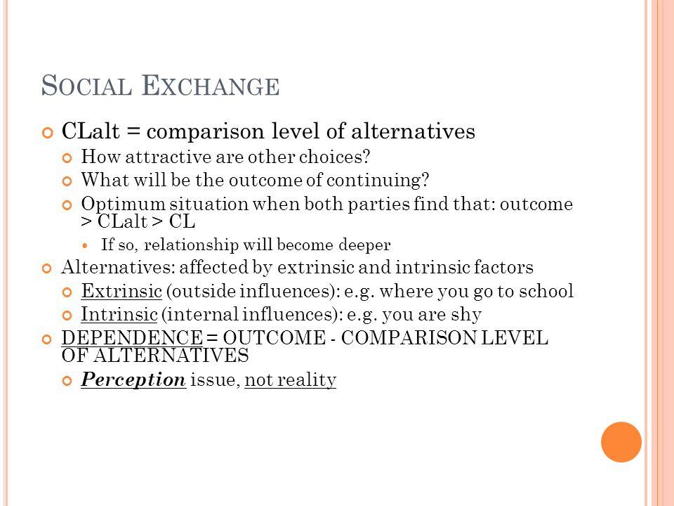 Social Exchange CLalt = comparison level of alternatives