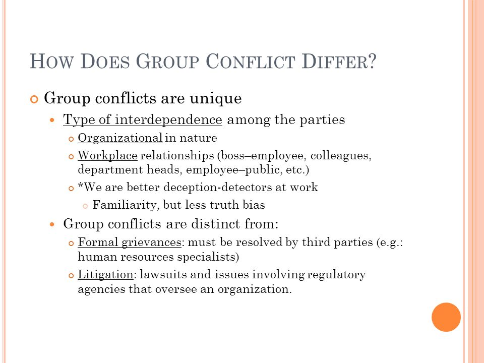 How Does Group Conflict Differ